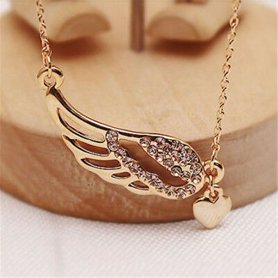 Fashion Rose Gold Plated Angel Wings Heart Pendant Chain Necklace Jewelry 1PC