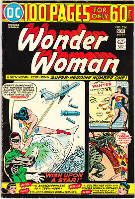 Wonder Woman 214 VF (8.0) Giant comic Green Lantern books Tiara 1974 DC Comics