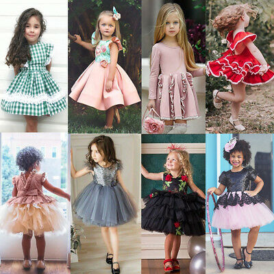 Princess Kids Baby Girl Dress Lace Flower Tutu Party Pageant Birthday Dress Lot