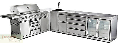 BBQ GAS GRILL OUTDOOR 15' Modular 8 Burner Rotisserie Sink Cooler Stainless New