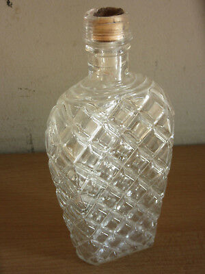 Antique 19thC French Depose H Pochet glass Flask bottle Waffle cone pattern
