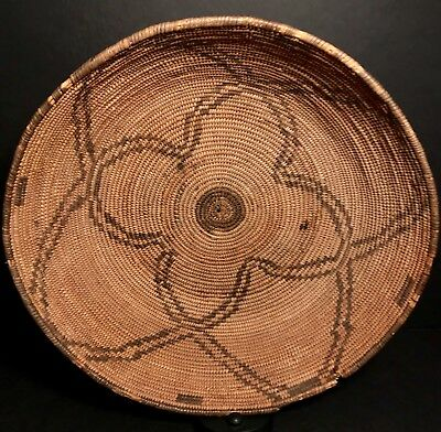 Fine 100+ Year Old Apache Basket With Curvilinear Designs, Nr!