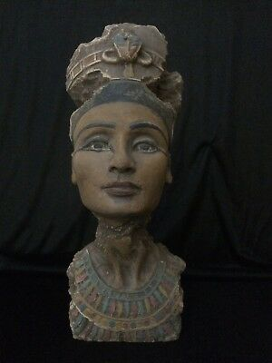 EGYPTIAN ANTIQUE Ancient EGYPT STATUE Queen NEFERTITI Head Carved Stone luxor BC