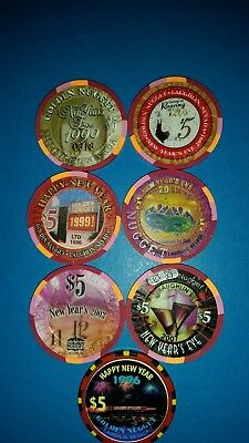 Golden Nugget  New Year  Laughlin  Casino $5 Chips