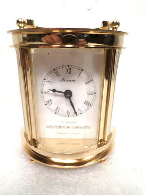 24K Gold Plated Oval Carriage Clock With Oval Beveled Glass and Key