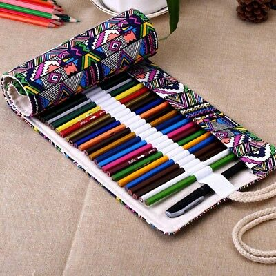 12~72 Holes Canvas Wrap Roll Up Pencil Bag Pen Storage Case Holder Pouch Gift