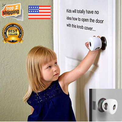 Pack 4 Child Proof White Door Knob Cover for Baby Safety