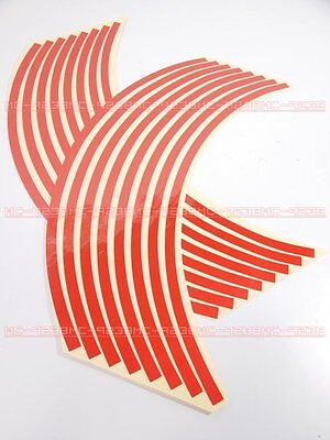"""Rim Stickers wheel stripe tapes 14"""" Red for all motorcycle 14 inches red"""