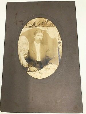 Antique Cabinet Photo Man Memorial Photo??