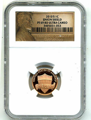 Ngc Lincoln Label Pr69 Ucam Rd Ultra Cameo 2010 S Proof Shield Cent Penny Coin