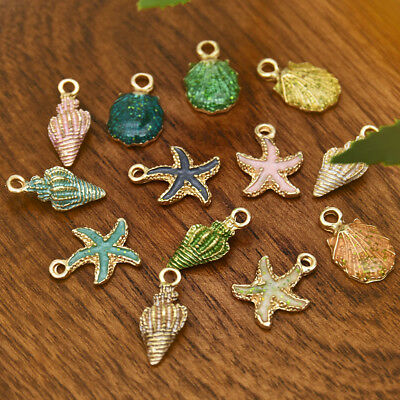 13Pcs Enamel Conch Sea Shell Pendant DIY Charms Findings Jewelry Making Handmade