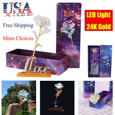 24K Gold Plated Rose Dipped Flower Valentine's Day Lovers' Gift Romantic US