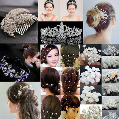 Wedding Bridal Crown Flower Crystal Pearl Hair Pins Clip Side Comb Jewelry Decor