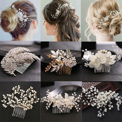 Women Pearl Crystal Crown Flower Hair Pin Clip Comb Bridal Wedding Party Jewelry