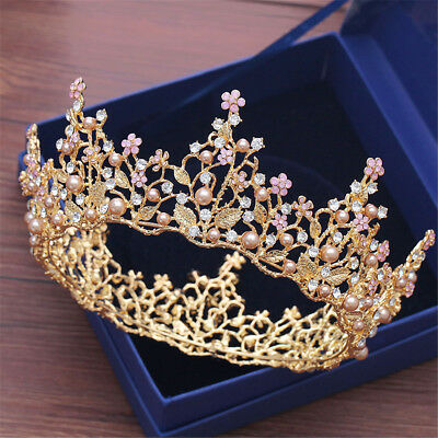 a31fba7c44b9bf Flower Bridal Wedding Rhinestone Tiara Crown Round Women Hair Headband Party