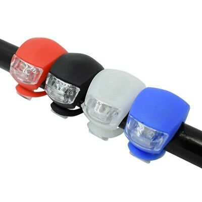 Black Silicone Bike Bicycle Cycling Head Front Rear Wheel LED Flash Light Lamp