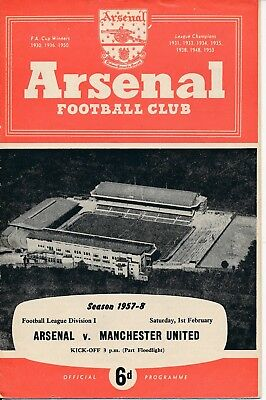 Arsenal v Manchester United 1957/8 - the Busby babes last UK game before Munich