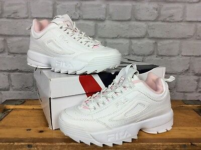 FILA LADIES UK 4 Eu 37.5 Disruptor Ii Leather White Pale