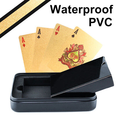 24k Pure Gold Plated Playing Cards Waterproof Magic Trick PVC Poker Metal Case