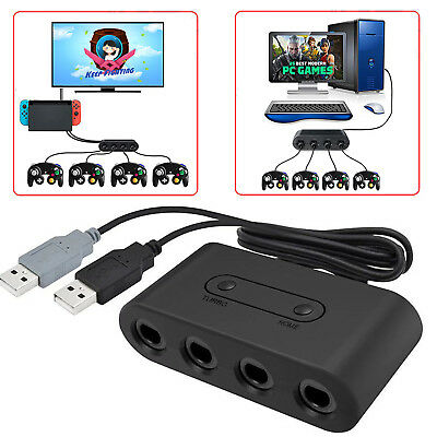 GameCube Controller Adapter 4port for Nintendo Switch Wii U&PC USB TURBO Home