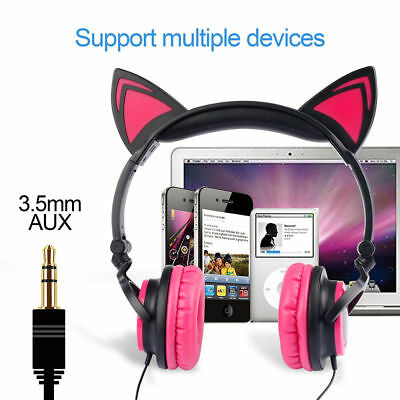 Foldable Cat Ear Overhead Wired Headphone Earphone For Kids Gift for iPad iphone