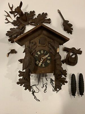 German Cuckoo Clock Black Forest Style FOR PARTS ONLY PIECES and PARTS