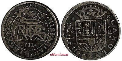 Spanish Colonial,Carlos III Silver 1711 2 Reales Barcelona Mint KM# PT5