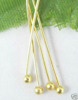 100Pcs Gold Plated copper solid ball head pin 50mm (Lead-free)