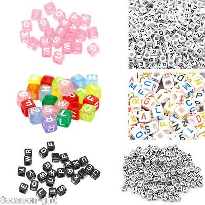 500PCS Mixed Cube Acrylic Letter/Alphabet Beads Colorful New