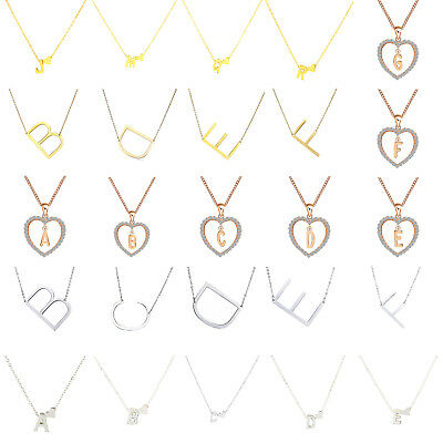 Fashion Gold Initial Alphabet 26 Letter A-Z Love Heart Pendant Chain Necklace