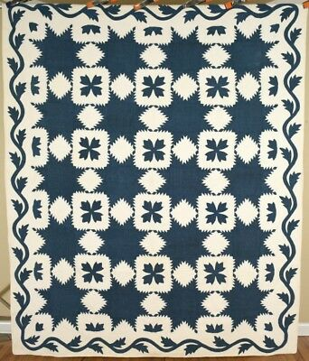 MUSEUM QUALITY Vintage PRE CIVIL WAR Indigo Blue Feathered Star Antique Quilt!