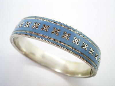 Antique Victorian Silver Plate And Blue Enamel Bangle