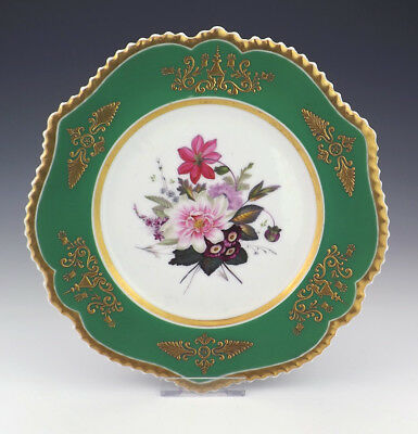 Antique Chamberlains Worcester - Hand Painted Flowers Plate With Green Border