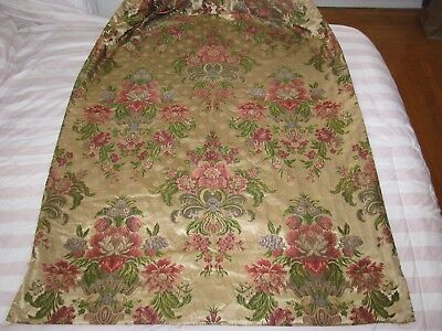 Antique French Fabric Panel Silk Damask Floral Window Drape Lined Opulent C.1900