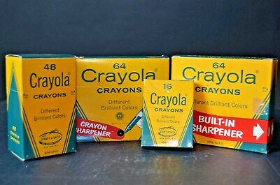 VINTAGE LOT OF 4 PACKS OF CRAYOLA CRAYONS (3) ARE NEW NOS Binney & Smith EARLY