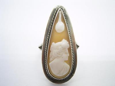 Antique Victorian Shell Cameo Silver Ring Size L 1/2 Us 6