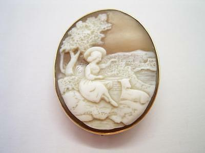 Antique Victorian 9Ct Gold Mounted Rebecca At The Well Shell Cameo Brooch