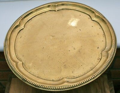 """Antique """"HOUSE OF COMMONS SCOTCH WHISKY/DREADNOUGH"""" Round Advertising Brass Tray"""