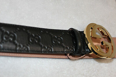 552c57b42 AUTHENTIC MEN'S GUCCI Belt Black Signature Print 105-42 Gold ...