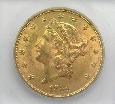 1884-S Liberty Head $20 Gold Double Eagle Icg Ms62 Valued At $2,000