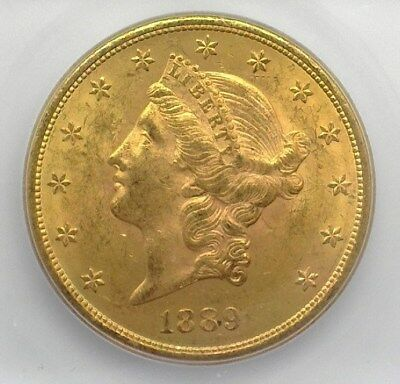 1889-S Liberty Head $20 Gold Double Eagle Icg Ms62+ Valued At $2,500