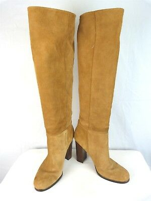 Sam Edelman Womens Brown Suede Leather Heeled Pull On High Boots Sz 9M