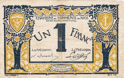 1 Franc Fine Emergency Banknote From France/nice 1917!
