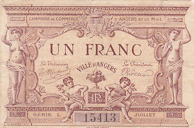 1 Franc Very Fine Emergency Banknote From France/d'angers 1915!