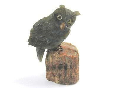 Vintage Oriental hardstone carved figure sculpture of an owl perched on a rock
