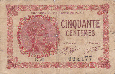 50 Centimes Vg Emergency Banknote From France/paris 1920!