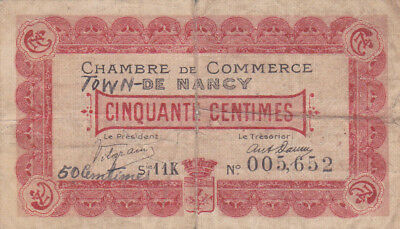 50 Centimes Vg Emergency Banknote From France/nancy 1918!