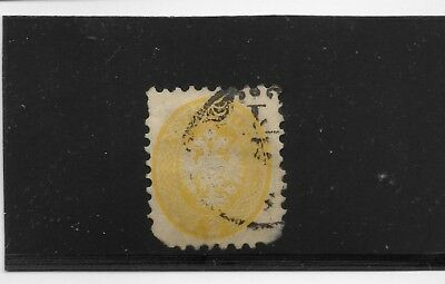 Lombardi-Venetia Scott #20 used 2c yellow perf 9.5 scarce with faults 1865