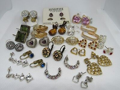 Vintage Lot of 22 Sparkling Colored Rhinestone Clear Clip Earrings Pierced 19.84