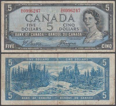 "1954 Bank of Canada Queen Elizabeth II ""Devil's Face Hairdo"" 5 Dollars"